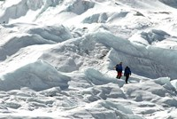 Climbers Return to Base Camp from Khumbu Icefall climbing, Mt Everest Fine Art Print