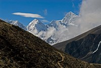 The Everest Base Camp Trail snakes along the Khumbu Valley, Nepal Fine Art Print