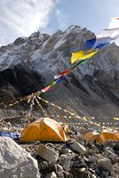 Tents of mountaineers along Khumbu Glacier, Mt Everest, Nepal Fine Art Print