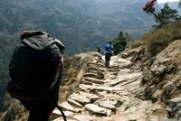 Trekkers on the trail towards Namche Bazaar, Khumbu, Nepal Fine Art Print