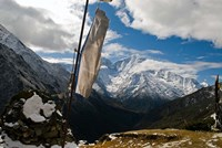 Prayer flags on ridge above Dole, peak of Ama Dablam, Nepa, Fine Art Print