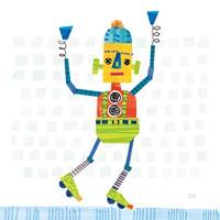 Robot Party I on Squares Framed Print