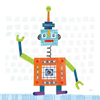 Robot Party III on Squares Fine Art Print