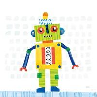 Robot Party IV on Squares Framed Print