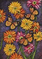 Monarch & Gerba Daisies Fine Art Print