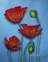 Red Poppies on Blue Fine Art Print