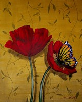 Red Poppies With Yellow Butterfly Fine Art Print