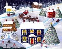 Santa Reindeer Christmas Eve Fine Art Print