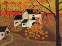 Pumpkin Barn Autumn Folk Art Fine Art Print