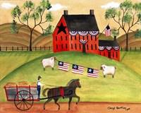 Primitive Americana Sheep with Horse and Wagon Fine Art Print