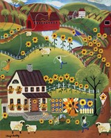 Primitive Quilt Maker House Sunflower Sheep Fine Art Print