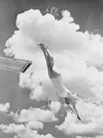 Woman Jumping from Springboard Fine Art Print