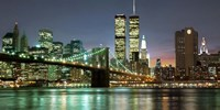 The Brooklyn Bridge and Twin Towers at Night Framed Print