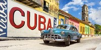 Vintage Car and Mural, Cuba Fine Art Print