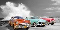 Cars in Avenida de Maceo, Havana, Cuba (BW) Fine Art Print