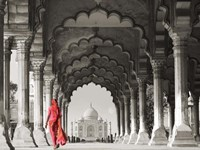 Woman in traditional Sari walking towards Taj Mahal (BW) Framed Print