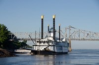 Paddlewheel boat and casino, Mississippi River, Mississippi Fine Art Print