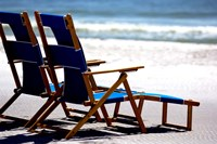 Beach Chairs, Umbrella, Ship Island, Mississippi Fine Art Print