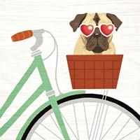 Beach Bums Pug Bicycle I Fine Art Print