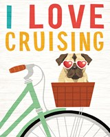 Beach Bums Pug Bicycle I Love Fine Art Print