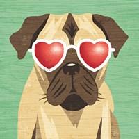 Beach Bums Pug I Fine Art Print