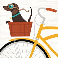 Beach Bums Dachshund Bicycle I Fine Art Print