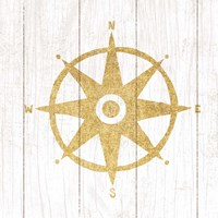 Beachscape IV Compass Gold Neutral Framed Print
