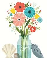 Seaside Bouquet II Mason Jar Fine Art Print