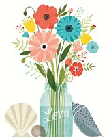 Seaside Bouquet II Mason Jar Fine Art Print