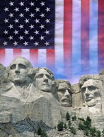 American flag and Mt Rushmore Fine Art Print