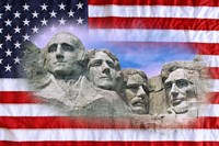 American flag and Mt Rushmore National Monument, South Dakota Fine Art Print