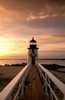 Brant Point lighthouse at Dusk, Nantucket Framed Print