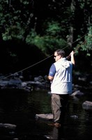 Fly Fishing on the Lamprey River, New Hampshire Fine Art Print