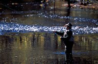 Fly Fisherman on the Lamprey River Below Wiswall Dam, New Hampshire Fine Art Print