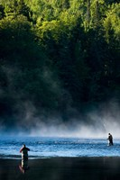 Fly-Fishing in Early Morning Mist on the Androscoggin River, Errol, New Hampshire Fine Art Print