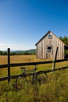 Mountain bike and barn on Birch Hill, New Durham, New Hampshire Fine Art Print