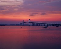 The Newport Bridge at sunset, Newport, Rhode Island Fine Art Print