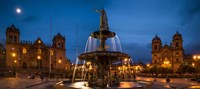 Fountain at La Catedral, Plaza De Armas, Cusco City, Peru Fine Art Print