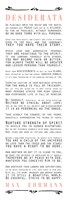 Desiderata Bus Roll Black and Peach Text Fine Art Print