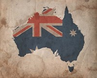 Map with Flag Overlay Australia Fine Art Print