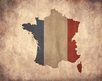 Map with Flag Overlay France Fine Art Print
