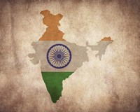 Map with Flag Overlay India Fine Art Print