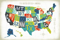 Letterpress USA Map Fine Art Print