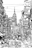 B&W City Scene II Fine Art Print