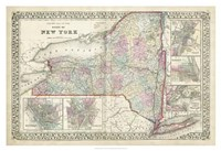 Johnson's Map of New York Fine Art Print
