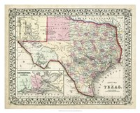 Johnson's Map of Texas Fine Art Print