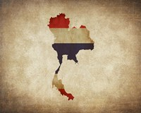 Map with Flag Overlay Thailand Fine Art Print
