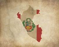 Map with Flag Overlay Peru Fine Art Print