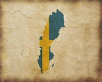 Map with Flag Overlay Sweden Fine Art Print