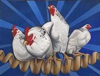 Chicken Cordon Bleu (Chicken Cord on Blue) Fine Art Print